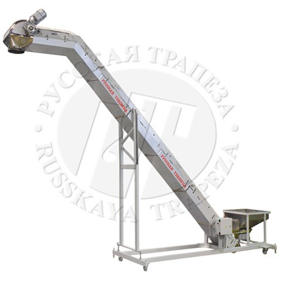 Conveyor with bended frame for work with multihead weigher RT-TVL-03
