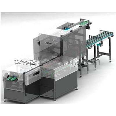 Automat for individual and group packaging into boxes with side feeder INDI