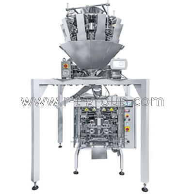 Filling and packaging automat with multihead weigher