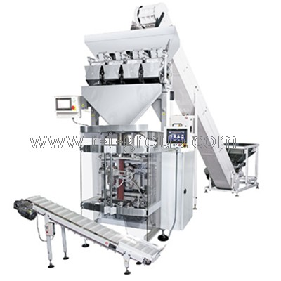 Filling and packaging line on the basis of packaging automat with linear weight doser + feeding conveyor of cups type + outfeed conveyor