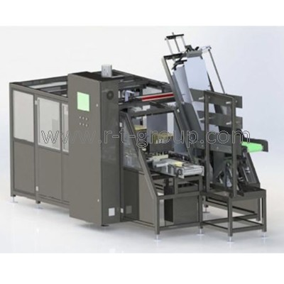 Wrap-around packaging machine into boxes 16000 bottles / hour