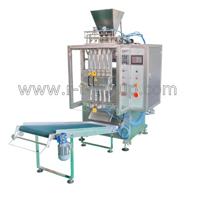 Packaging machine for liquid products into stick sachet bags