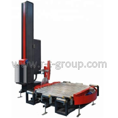 Rotary table for wrap-around of pallet with stretch film